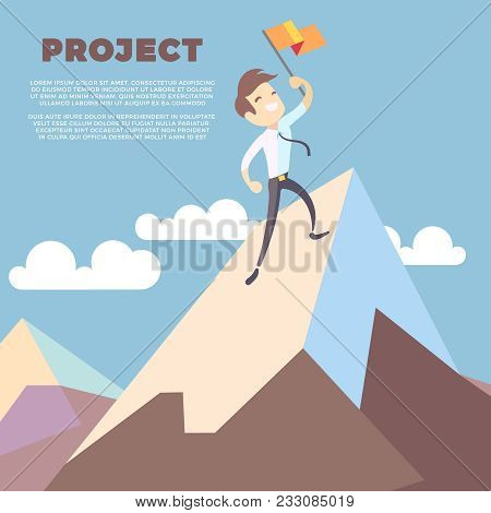 Business Man Holding Flag On Mountain Peak Vector Background. Successful Leadership Winner On Mounta