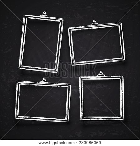 Old Hand Drawn Chalk Photo Frames, White Vintage Image Borders With Shadows Isolated On Blackboard V