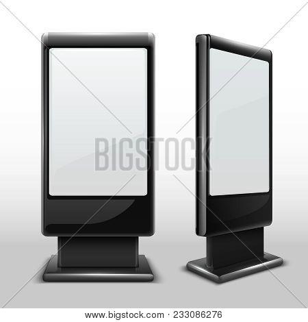 Blank Interactive Outdoor Kiosk. Digital Tv Standing Touch Screen Isolated Vector Mockup. Display Ki