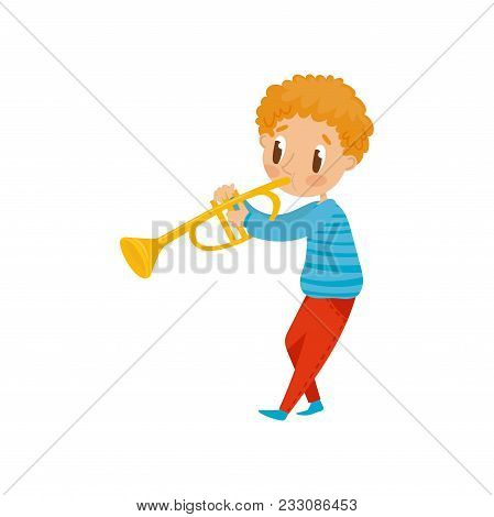 Cute Boy Playing Trumpet, Little Musician Character With Musical Instrument Cartoon Vector Illustrat
