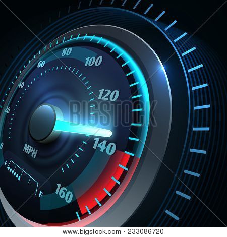 Futuristic Sports Car Speedometer. Abstract Speed Racing Vector Background. Speedometer And Speed Ca