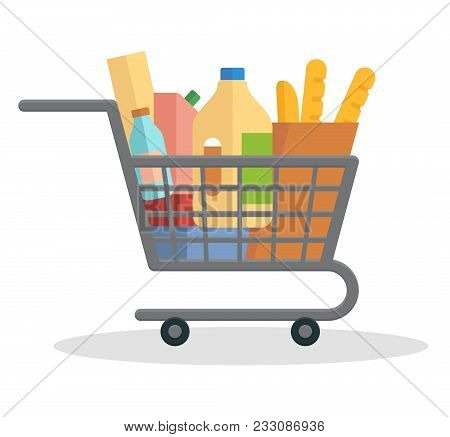 Shopping Trolley Full Of Food. Flat Vector Illustration