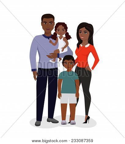 Vector Illustration Of Beautiful Happy Family. African American Parents And Children. Smiling Cartoo