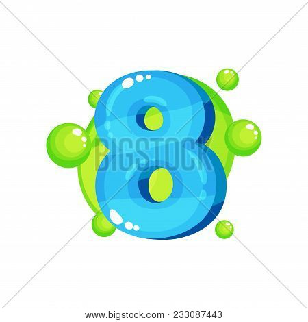 Eight Blue Glossy Bright Number, Kids Font Vector Illustration Isolated On A White Background.