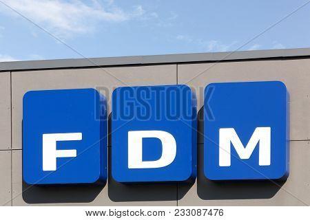 Tilst, Denmark - May 16, 2016: The Federation Of Danish Motorists Logo On A Wall. Fdm Is An Organisa