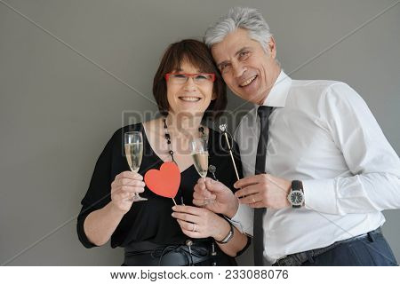 Just married senior couple, isolated