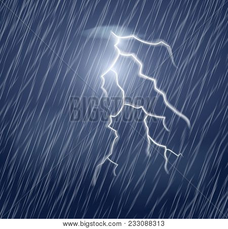 Lightning Flash And Heavy Rain In The Dark Sky. Realistic Vector Illustration.thunderstorm And Light