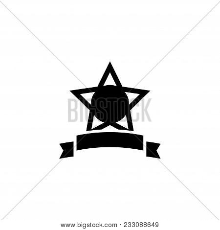 Star Award With Ribbon. Flat Vector Icon. Simple Black Symbol On White Background
