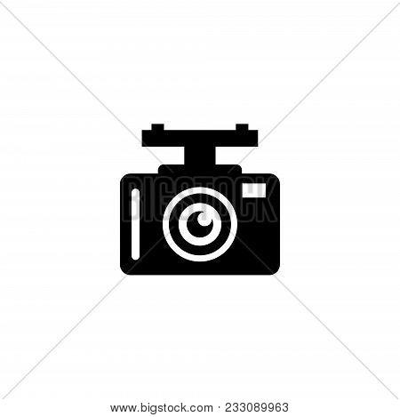 Car Dvr. Car Digital Video Recorder. Flat Vector Icon. Simple Black Symbol On White Background