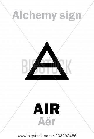 Alchemy Alphabet: Air (aër), One Of Primary Elements, State: Gas, Fluid. Medieval Alchemical Sign (m