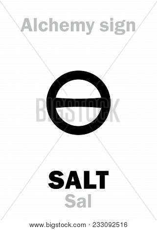 Alchemy Alphabet: SALT (Sal / Sal terrae, Sal maris, Sal commune), one of three primes; also: rock salt, sea salt, regular salt. Chemical formula=[NaCl]. Medieval alchemical sign (mystic symbol). poster
