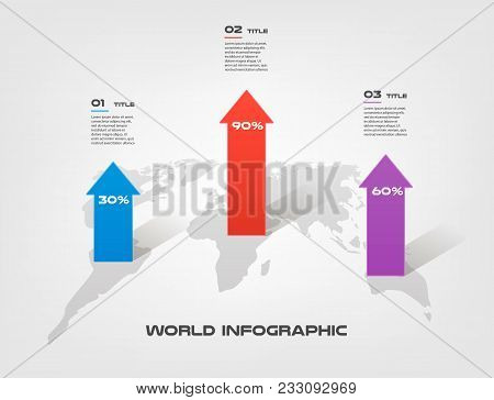 World map arrow vector photo free trial bigstock world map arrow growth infographics step by step in a series of circle element of gumiabroncs Image collections