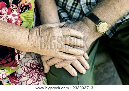 Hands Of Elderly Couple, Holding Hands Of Seniors Together Close-up, Concept Of Relationships, Marri