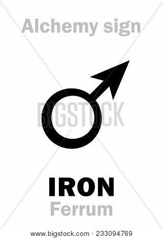 Alchemy Alphabet: Iron (ferrum, Chalybs; Mars), One Of Seven Ancient Metals; Eq.: Iron, Steel. Chemi