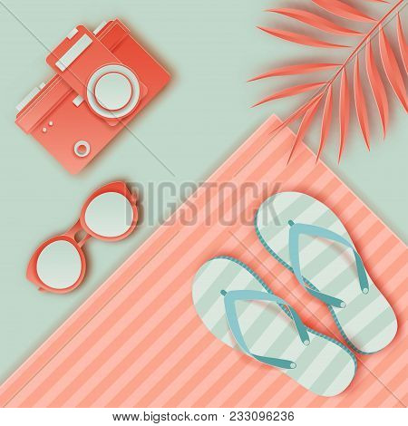 f7a5d3fb6 Summer background in pastel colors. Paper cut retro photo camera