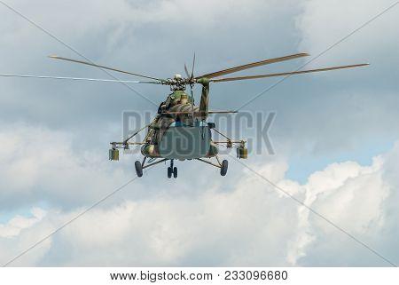 Tyumen, Russia - August 4, 2017: International Army Games. Engineering Formula Contest. Military Hel
