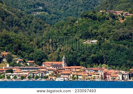 View of Pella - small town on famous Lake Orta in Piedmont, Northern Italy.