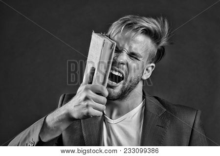 Businessman Beat Face With Book, Motivation. Angry Man Shout With Book, Knowledge. Motivation, Power