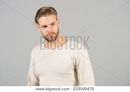 Man In Fashionable Tshirt, Fashion. Man With Bearded Face And Blond Hair, Haircut. Grooming And Hair