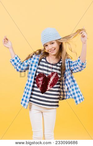Valentines Day, Holiday Celebration. Little Girl Smile With Red Heart On Tshirt, Fashion. Happy Chil
