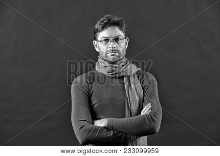 Businessman In Glasses On Bearded Face. Man In Scarf, Sweater With Folded Hands. Eyesight Correction
