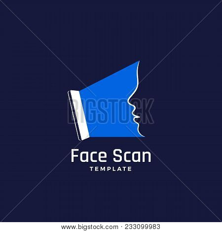 Face Scan Abstract Vector Sign, Emblem, Icon Or Logo Template. Smartphone Screen Making A Face Recog