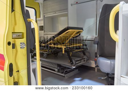 Looking Inside The Ambulence At Patient Transporting Means