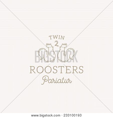 Twin Roosters Abstract Vector Sign, Symbol Or Logo Template. Elegant Line Style Roosters Sillhouette