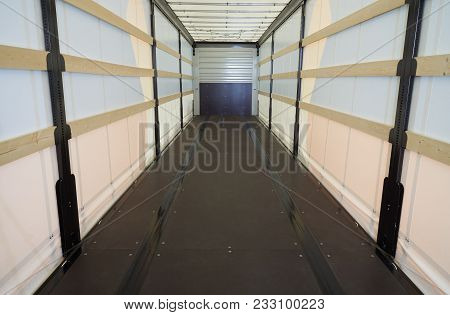 Inside View Of The Commercial Semi Trailer With Light Transmitting Tent