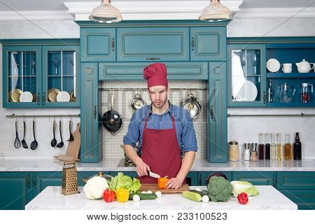 Vegetables And Tools On Table Ready For Cooking. Man Chef Cook With Knife In Kitchen, Cuisine. Veget