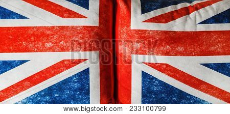 British Flag Background With Cloth Texture. Union Jack. Great Britain Symbol On Pillows.