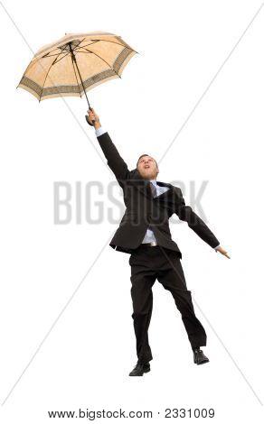 Happy Flying Businessman