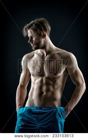 Sexy Macho With Fit Bare Chest And Belly Muscles, Fitness. Bearded Man With Muscular Torso, Health.