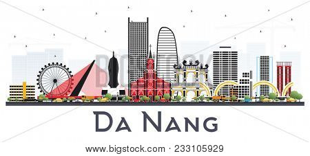 Da Nang Vietnam City Skyline with Color Buildings Isolated on White. Business Travel and Tourism Concept with Modern Architecture. Da Nang Cityscape with Landmarks.