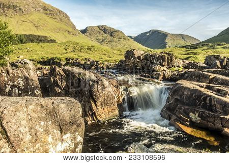 River Etive Waterfall In The Highlands Of Scotland By Glencoe, United Kingdom - Uk