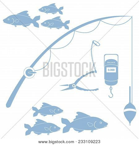 Stylized Icon Set Of Different Tools For Fishing And Flocks Of Fish On A White Background
