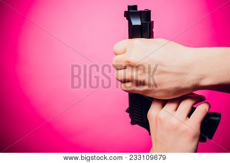 Armed Campus Gun Allowed In Some Us Universities Concept The Weapon In Hands Against The Teacher Sei