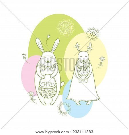 Vector happy easter vector photo free trial bigstock vector happy easter greeting card with outline rabbit couple and traditional easter symbol in pastel m4hsunfo