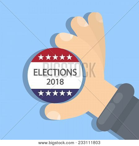 American Election Campaign. Election Sign In Hand.