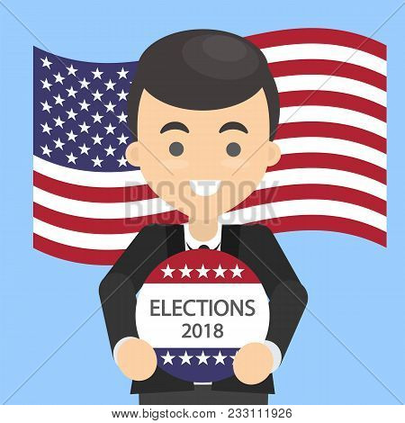 American Election Campaign. Man With Election Ad.