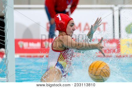 BARCELONA, SPAIN - FEB, 17: Sandra Domene of CN Terrassa in action during a Copa Reina match at the J. Valles Swimming Pool on February 17, 2018 in Barcelona, Spain