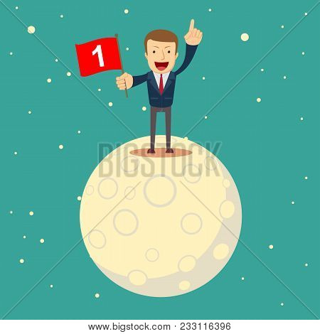 A Man In A Business Suit Conquered The Moon. Happy Businessman Holding Number One Flag. Start Up Bus