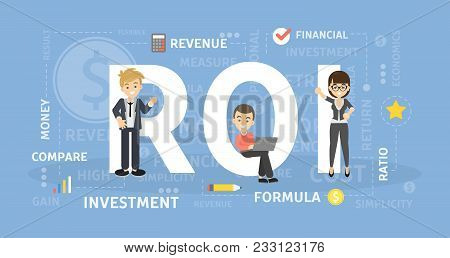 Roi Concept Illustration. Idea Of Investment And Revenue.