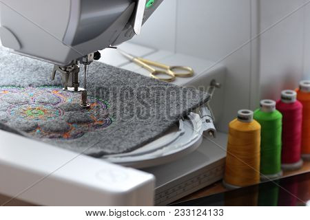 Embroidery Of Colorful Mandala On Felt With Embroidery Machine - Embroidery Machine, Tablet Computer