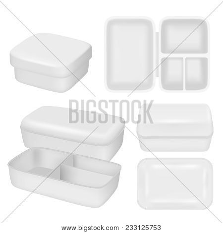 Plastic Lunch Box Mock Up Set. Vector Realistic Illustration Of White Empty Plastic Container For Fo
