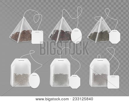 Pyramid And Rectangle Shaped Tea Bag Mock Up Set. Vector Realistic Illustration Of Teabag With Empty