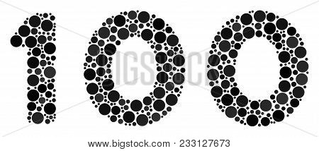 100 Text Collage Of Circle Dots In Variable Sizes And Color Tinges. Circle Elements Are Composed Int