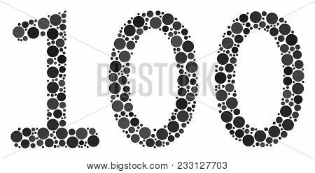 100 Text Composition Of Filled Circles In Different Sizes And Color Hues. Filled Circles Are Combine