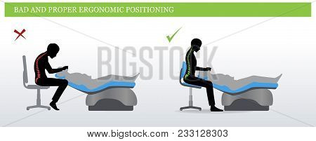 Ergonomics In Dentistry. Wrong And Correct Sitting Pose Of A Dentist