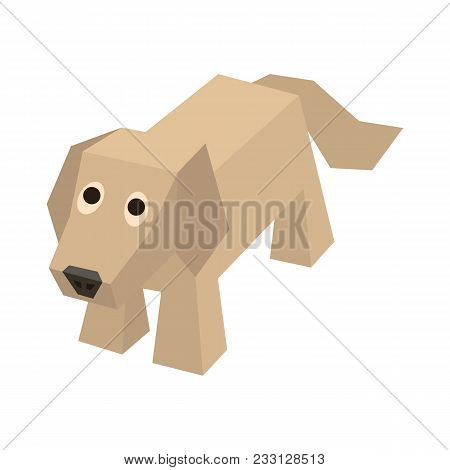 Vector Isometric Dog. Isolated Cute Isometry Labrador. Geometric Flat Dog For 3d Game. Domestic And